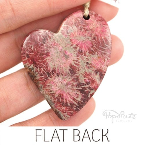 Fossil coral heart pendant pink