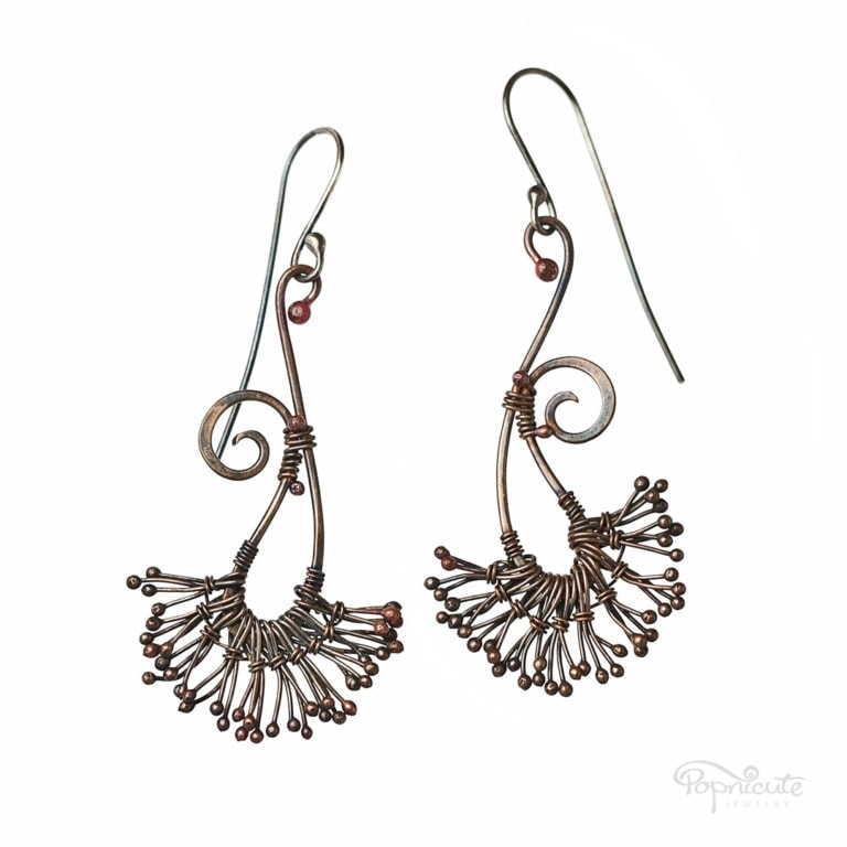 Copper Dandelion Seed Earrings