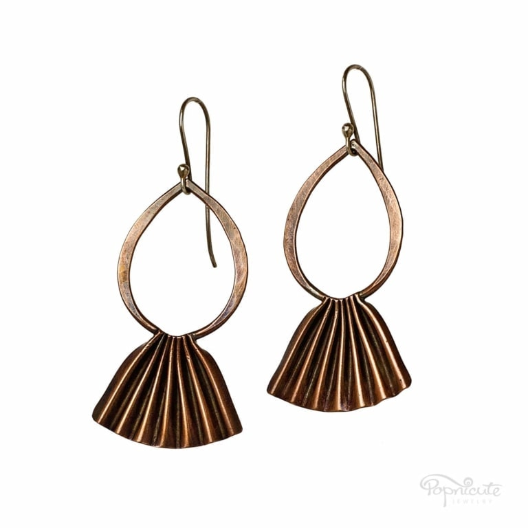 Copper Fan Earrings Dangle