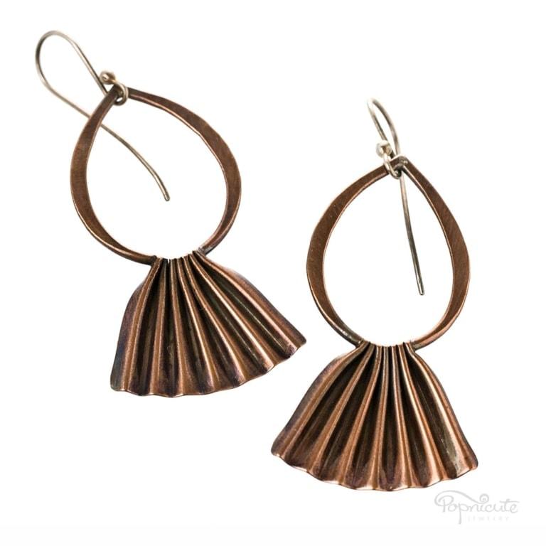 Copper Fan Earrings Dangle Art Jewelry. Look like fish with fancy tails.
