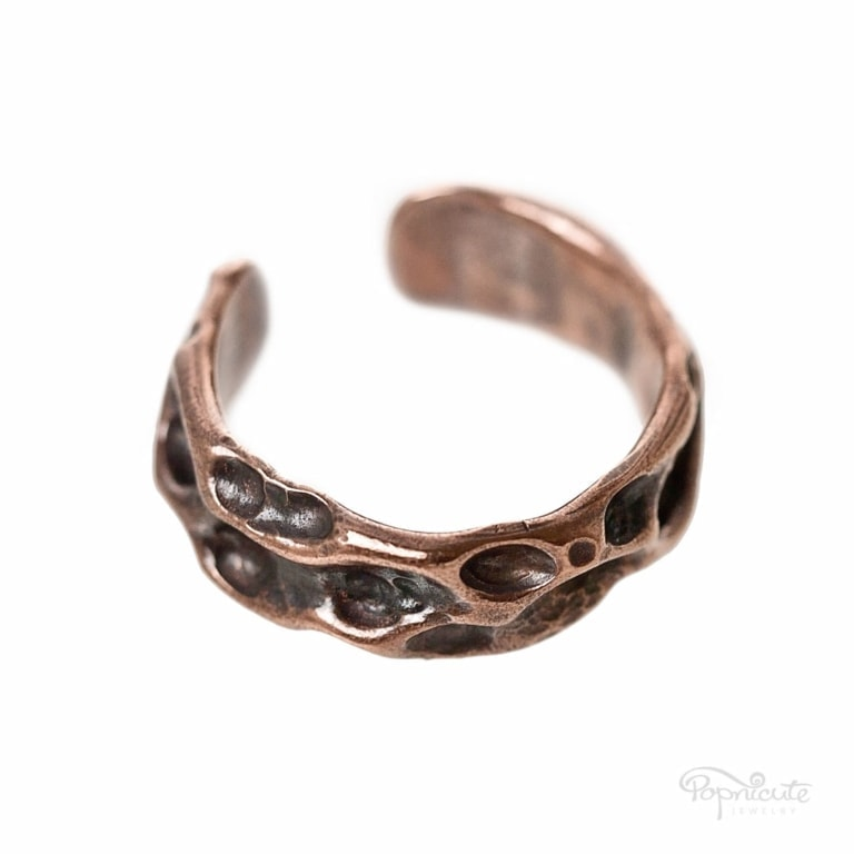 Adjustable wide band rustic moon ring in copper ready for you to rock your days. It's tough, rugged, unisex.Rustic copper moon ring looks great stacked.