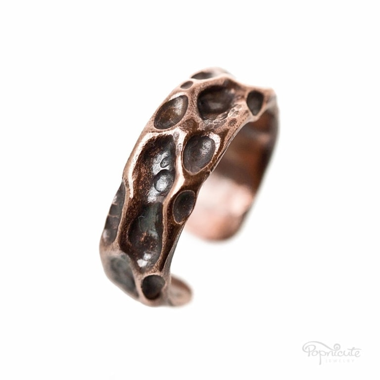 Wide Copper Rustic Moon Ring
