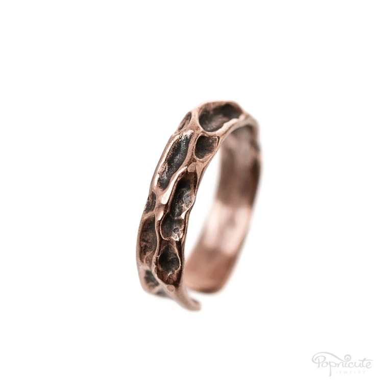 Adjustable rustic moon ring in copper ready for you to rock your days. It's tough, rugged, unisex.Rustic copper moon ring looks great stacked.
