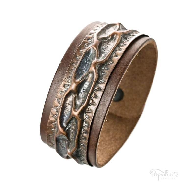 Rustic Textured Copper Leather Bracelet