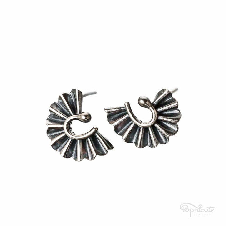 Fan Stud Earrings – Sterling Silver