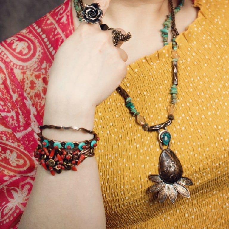 Wavy Dot Copper Silver Bracelet – Skinny