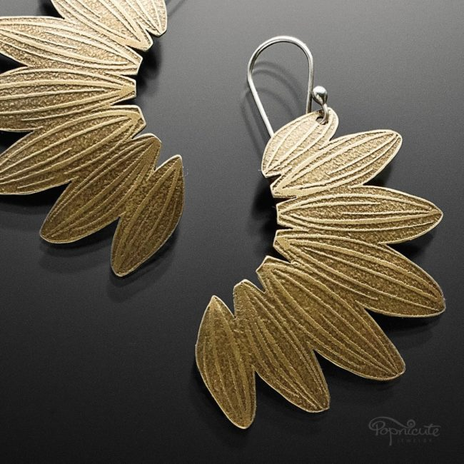 Sunflower earrings brass and silver by Popnicute Jewelry