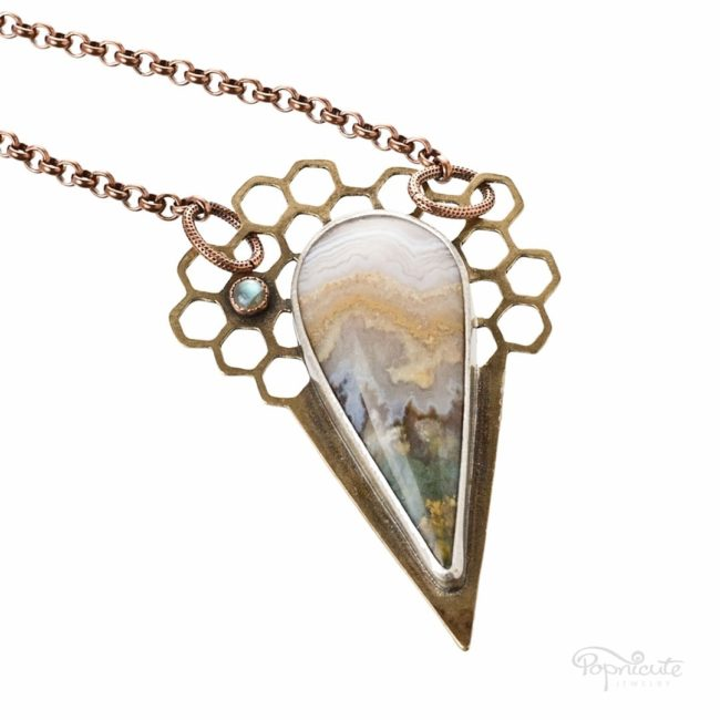 Beehive Honeycomb Necklace Prudent Mans Agate by Popnicute Jewelry