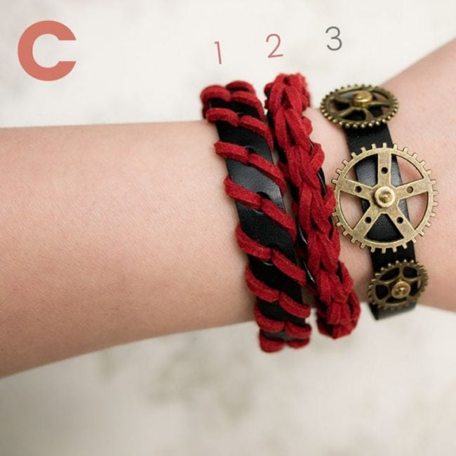 Braided Leather Bracelets - Red Black
