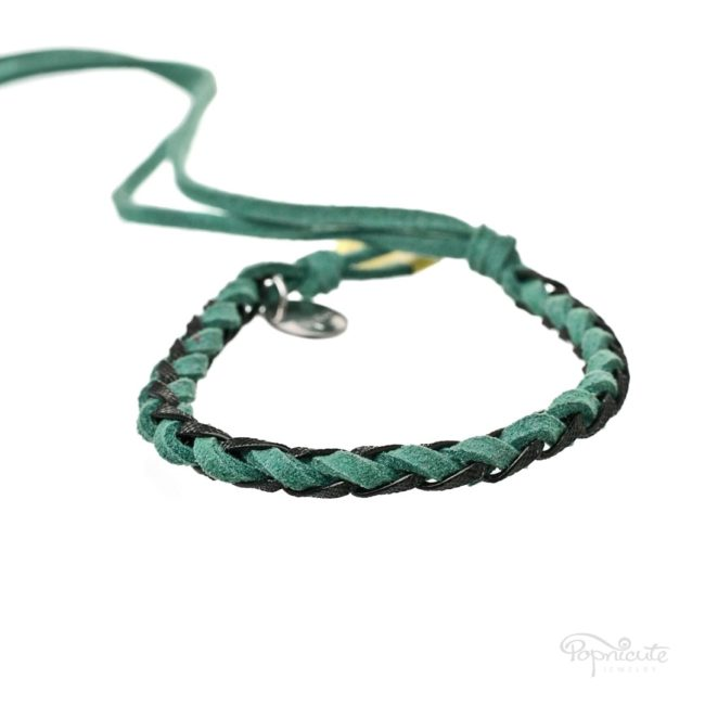 Braided Leather Bracelets - Teal