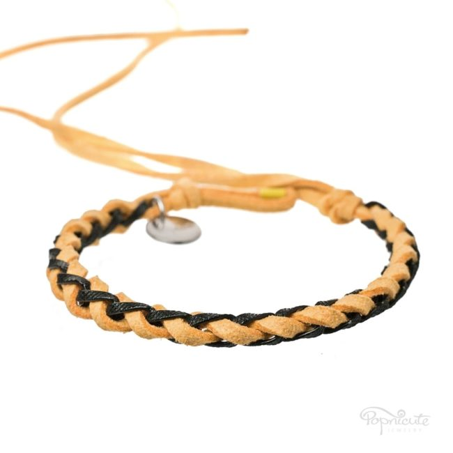 Braided Leather Bracelets - Yellow
