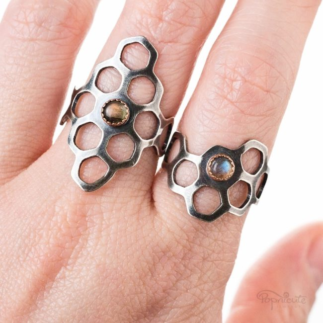 Honeycomb Ring Sterling Silver Diamond Shape by Popnicute Jewelry