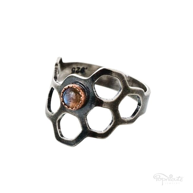 Honeycomb Ring Sterling Silver Organic Shape by Popnicute Jewelry