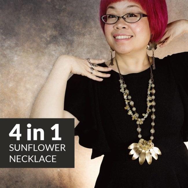 4 in 1 sunflower necklace by Popnicute Jewelry