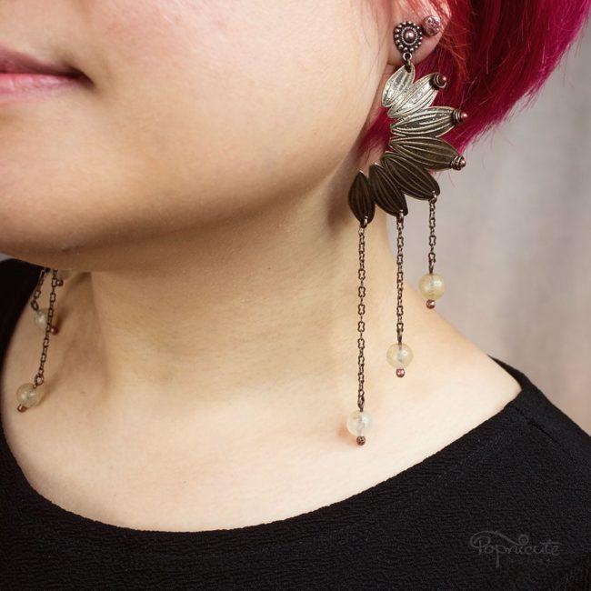 3 chain tassel sunflower earrings. Brass petals with srgentium silver hooks. Art jewelry by Popnicute.