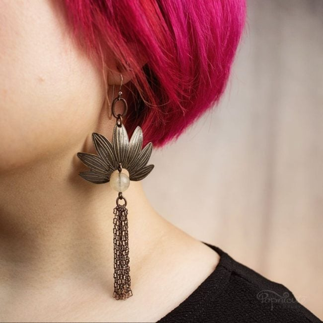 Sunflower tassel earrings pinapple quartz by Popnicute Jewelry on model. Brass and argentium silver.