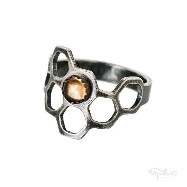 Honeycomb Ring Sterling Silver Citrine Irregular by Popnicute Jewelry