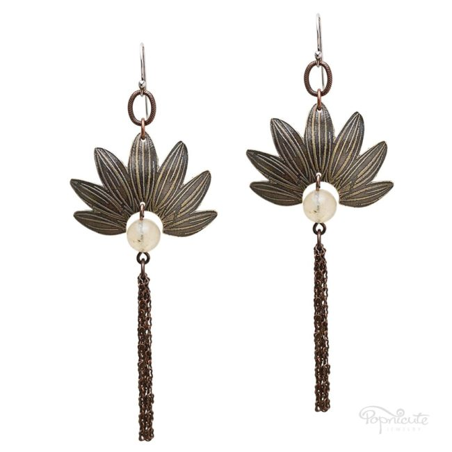 Sunflower petals with chain tassel earrings by Popnicute Jewelry.