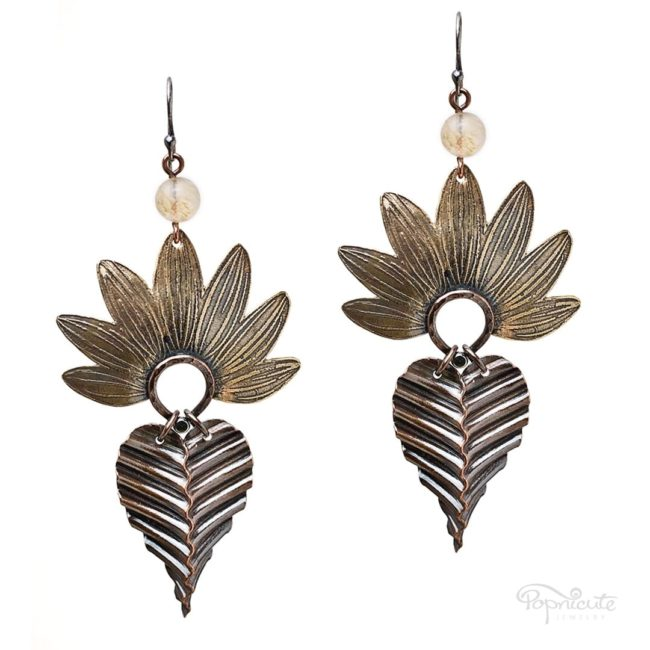 Sunflower petals with copper leaf earrings by Popnicute Jewelry.