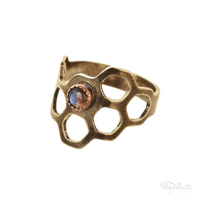 Honeycomb Ring Brass Organic Shape by Popnicute Jewelry
