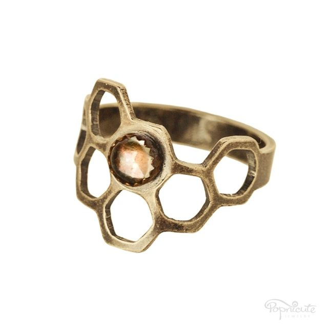 Honeycomb Ring Brass Citrine Irregular by Popnicute Jewelry