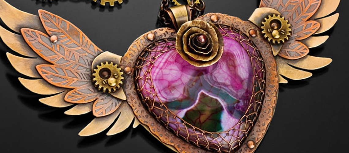 """""""Winged Heart"""" Pendant by Kharisma Sommers – Etched Copper, Red Brass, Bronze, and Dyed Agate"""