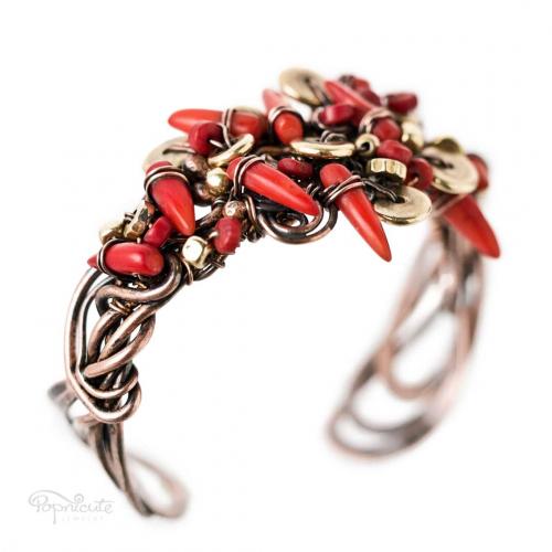 Chili Pepper Copper Cuff Wire Wrapped Coral Bracelet in Copper by Popnicute Jewelry. 6.5 inches.